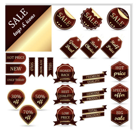 Collection of sale tags icons or stickers Vector