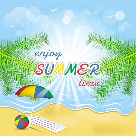 Summer greeting card seacoast palm trees beach ball and umbrella Vector