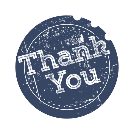 Thank you blue rubber stamp in retro style Vector