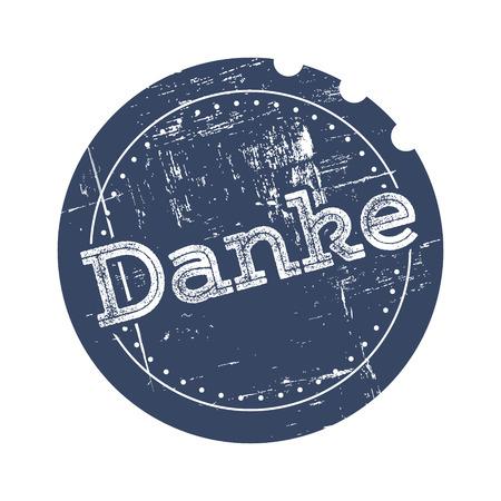 thankfulness: Danke blue rubber stamp in retro style Illustration