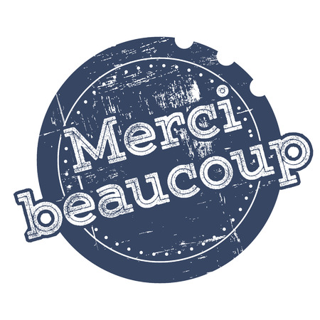 Merci blue rubber stamp in retro style Vector