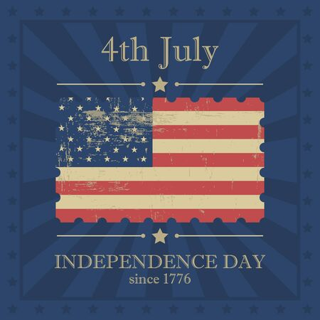 Independence day on vintage background with US flag Vector