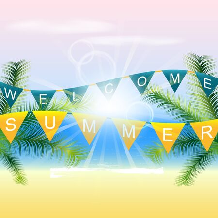 seacoast: Welcome summer background with palm trees and sunlight on the coast Illustration