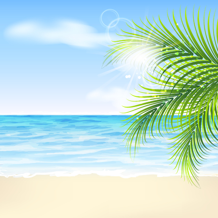 Summer background with palm leaves and sea beach Vectores