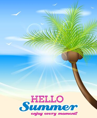 seacoast: Hello summer vector background with palm tree and seaside