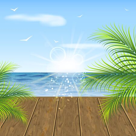 ocean view: Summer background. Sea view wooden floor and palm leaves. Illustration