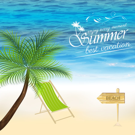 seacoast: Summer background with palm tree and ocean beach lounger