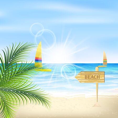 seacoast: Seacoast with palm leaves sunshine beach and sailboat