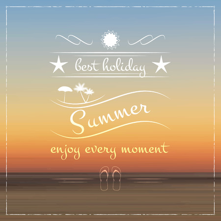 flipflop: Summer holiday background star sun palm tree and flipflop Illustration