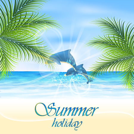 ocean view: Summer holiday. Dolphins on the seashore. Vector illustration.