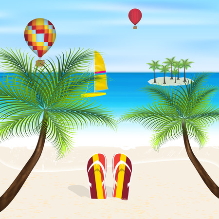 seacoast: Summer vacation on the beach flipflops in the sand sea palms and flying balloons Illustration