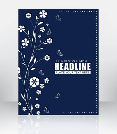 publishing: Abstract flyer or cover design with floral pattern. Vector illustration. Design for print publishing or working presentation.