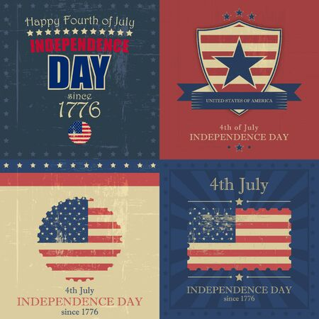 Set of independence day vector background with usa flag and grunge in vintage style.
