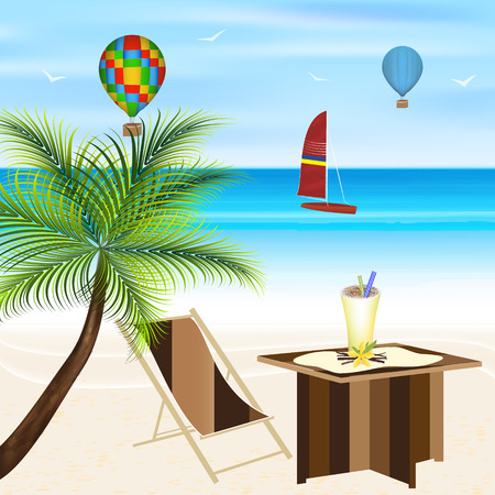 lounger: Summer holiday on the beach. Palm tree lounger sailboat flying balloons and beach table. Vector illustration.
