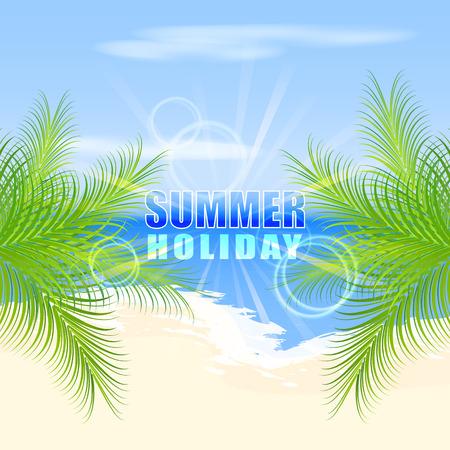seacoast: Summer holiday on the beach. Palm trees on the seashore.