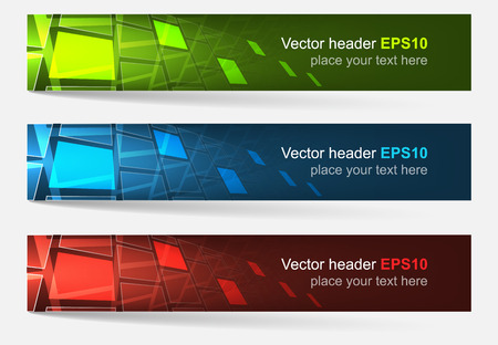 Set of colorful vector headers and banners. Design with place for your content creative editing or website presentation.