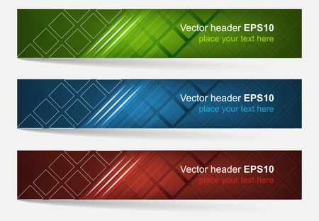 graphic presentation: Web header set of vector banner. Editable design with space for your content and website presentation. Three color variations. Illustration