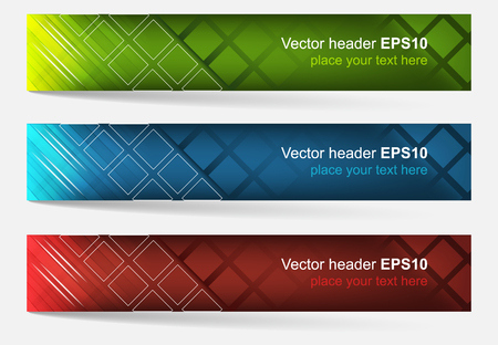 Web header set of vector banner. Editable design with space for your content and website presentation. Three color variations. Illustration