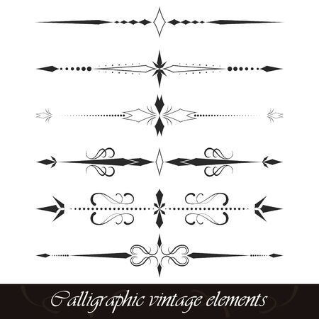 separator: Set of calligraphic vintage elements, borders, dividers or page decor Illustration