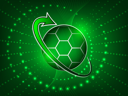 soccer background: Soccer abstract vector background with soccer ball, glitter, arrow and shine