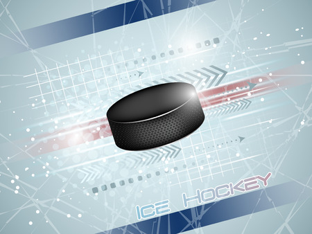 Hockey puck on the ice with graphic elements and shine