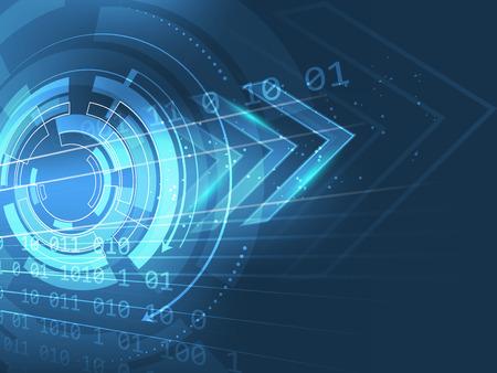 Abstracte technologie pijl vector achtergrond in blauw met ruimte voor uw inhoud