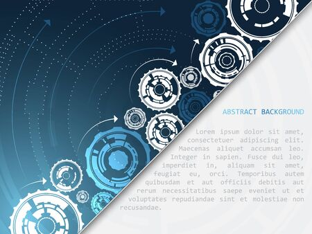 gear wheels: Abstract technology vector background with gear wheels and arrows, design with space for your content