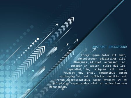 Abstract technology vector background with arrow pattern and halftone effect in blue