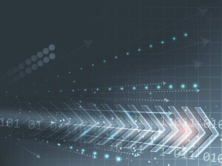 벡터 기술 화살표, 숫자와 반짝이와 추상적 인 배경