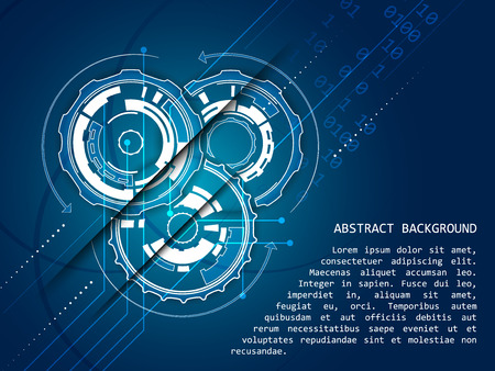 blue arrow: Abstract technology vector background, gear wheels pattern, arrows, shine and number scheme.