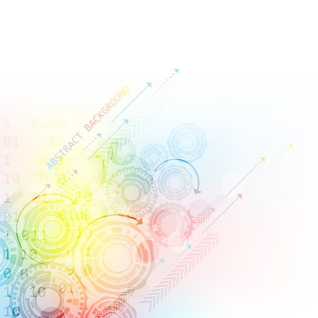 connect: Abstract colorful background with gear wheels and arrows, vector illustration with place for text