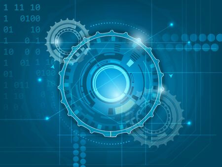 Abstract blue digital technology background with gears and space for your text, vector illustration