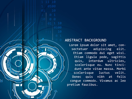 dark blue background: Abstract technology vector background, gear wheels pattern, arrows, shine and number scheme.