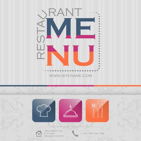 restaurant icons: Elegant restaurant menu design, vector illustration with colorful icons