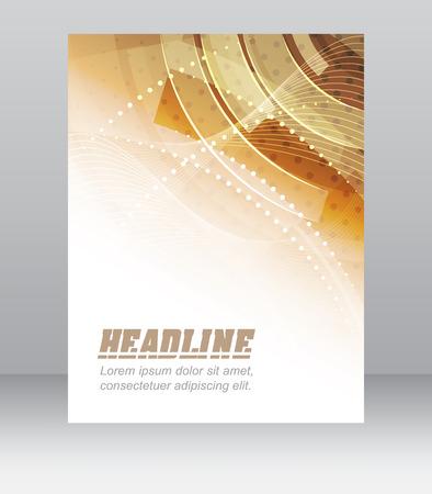 Flyer or brochure template, corporate banner, abstract orange technology design, vector illustration