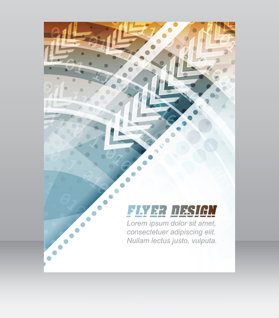 Abstract business flyer template with technological pattern, corporate banner or cover design. Vector illustration.