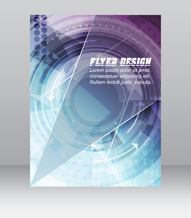 Abstract business flyer template with technological pattern, magazine, cover design or corporate banner. Can be used for print, presentation or publishing. Illustration