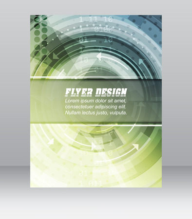 Abstract business flyer template with technological pattern, magazine, cover design or corporate banner.