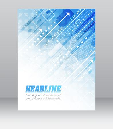 비즈니스 프레젠테이션이나 출판, 벡터 일러스트 레이 션에 대한 기술적 패턴 추상 플라이어 또는 커버 디자인