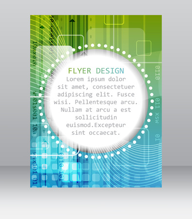 cataloged: Business flyer template with abstract technological pattern, square, arrows and other graphic elements. Illustration