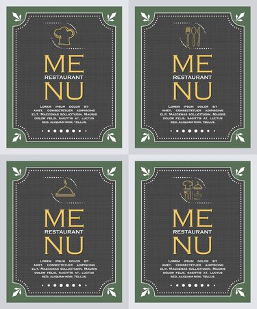 creative: Set of restaurant menu cover background in retro style, vector illustration
