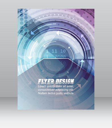 Abstract business flyer template with technological pattern, magazine, cover design or corporate banner.  Illustration