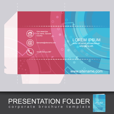 die cut: Presentation corporate folder template with die cut design. Vector illustration