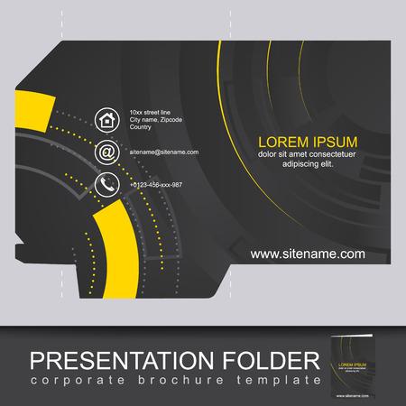 ダイカットと暗い企業フォルダーを抽象化、ビジネス プレゼンテーションに使用することができます。編集可能なベクター デザイン。