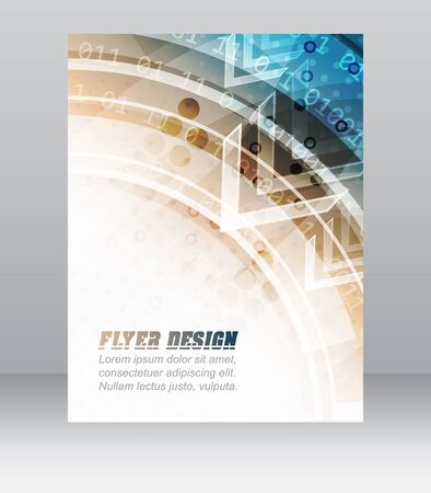 cataloged: Business flyer template, brochure or corporate banner with abstract technology pattern, vector illustration