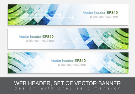 Web header or banner for your project. Design with precise dimension. Vector illustration.