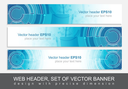 Set of three horizontal website header or banner templates with technological pattern. Design with precise dimension.