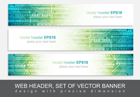 Website header of banner geïsoleerd, vector abstract ontwerp sjabloon met technologische patroon. Stock Illustratie