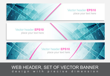 footer: Set of web header, footer or banner. Design for your creative website presentation or project. Vector illustration.