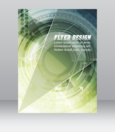 Abstract business flyer template with technological pattern, magazine, cover design or corporate banner. Can be used for print, presentation or publishing. Vector illustration.